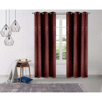 Solid Wine Polyester Blackout Grommet Window Curtain 38 in. W x 95 in. L (2-Pack)