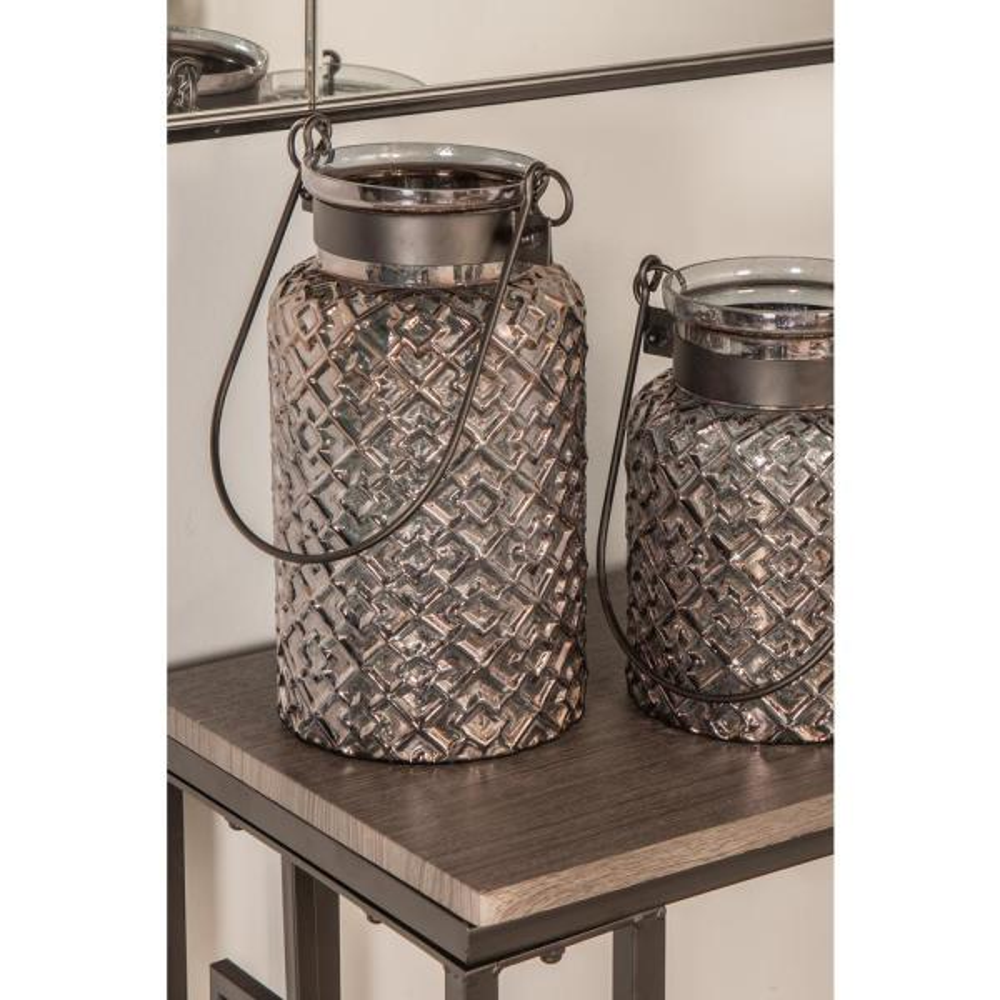 Clear Geometric Design Candle Lantern