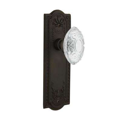 Meadows Plate 2-3/8 in. Backset Oil-Rubbed Bronze Passage Hall/Closet Crystal Victorian Door Knob