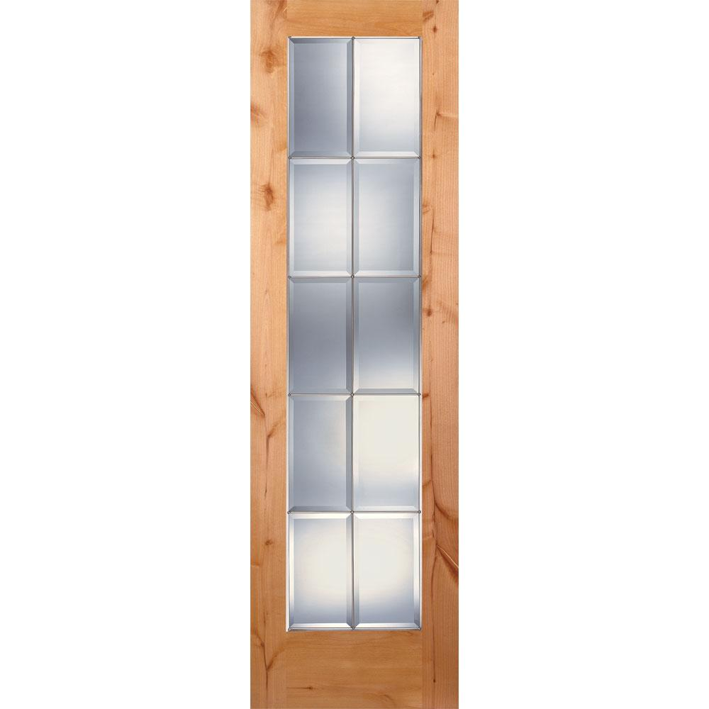 Feather River Doors 24 In X 80 In 10 Lite Unfinished Knotty Alder Clear Bevel Zinc Woodgrain