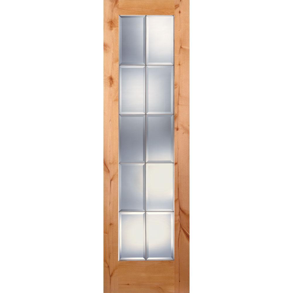 10 Lite Unfinished Knotty Alder Clear Bevel Zinc Woodgrain Interior Door Slab