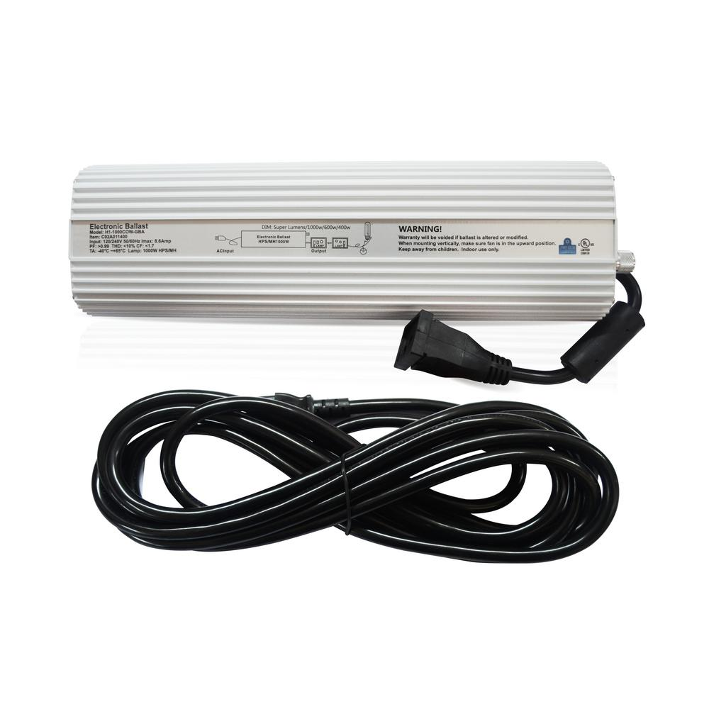 Hydro Crunch 1000-Watt HPS MH Digital Dimmable 120/240-Volt Ballast ...