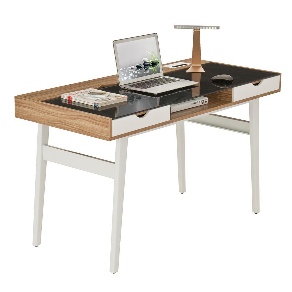 51 in. Rectangular Walnut/White 2 Drawer Computer Desk with Built-In Storage