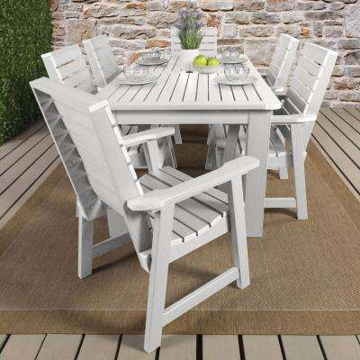 Weatherly White 7-Piece Recycled Plastic Rectangular Outdoor Dining Set