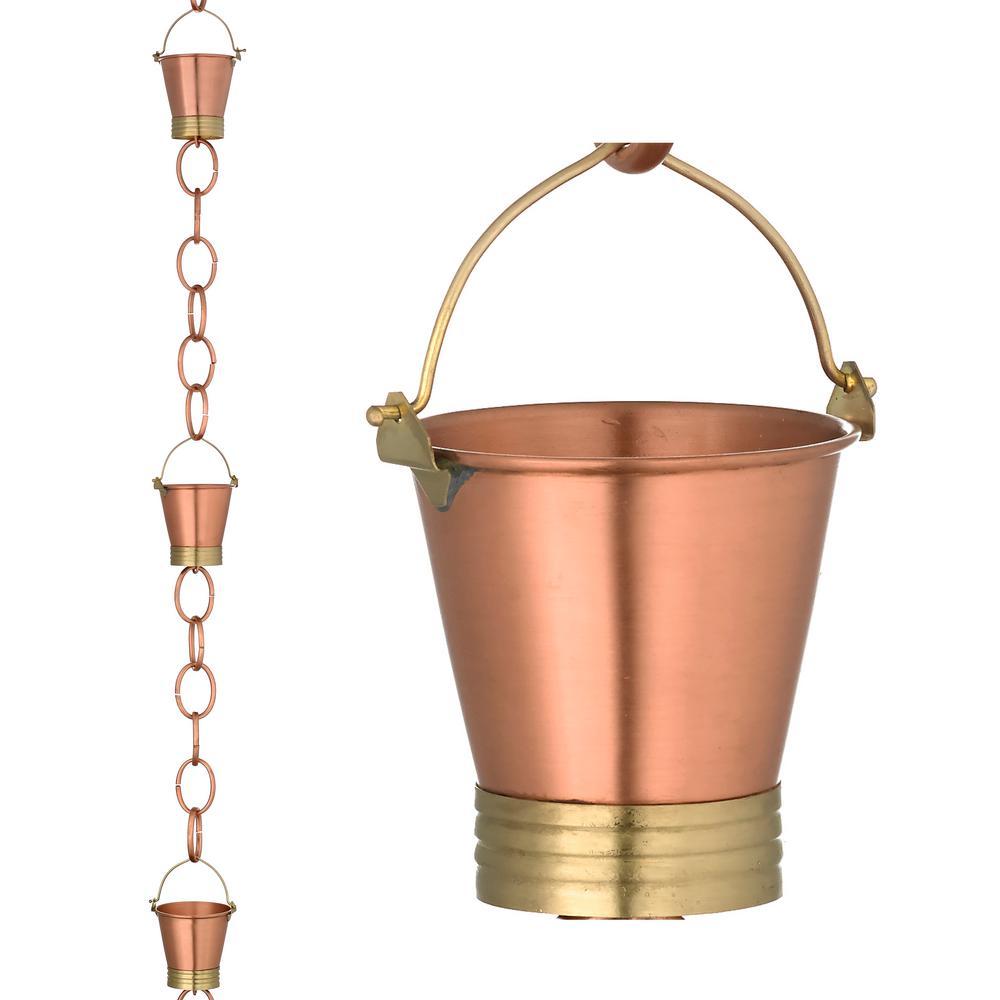 Pails Rain Chain - Brushed Copper