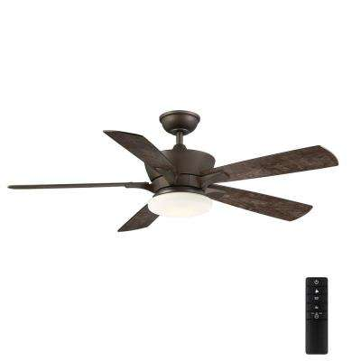 Bergen 52 in. LED Uplight Espresso Bronze Ceiling Fan With Light and Remote Control