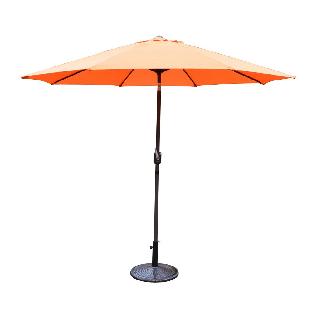 9 ft. Tilt Patio Umbrella and Cast Iron Patio Umbrella Base