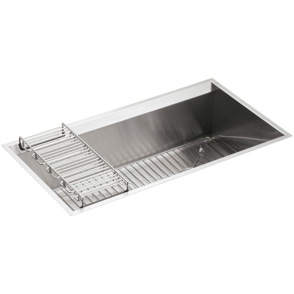 Elegant KOHLER 8 Degree Undermount Stainless Steel 33 In. Single Bowl Kitchen Sink  Kit