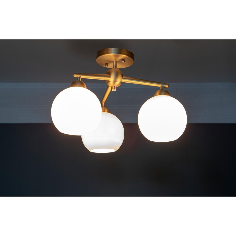 Decor Therapy - Michael 3-Light Antique Brass Flush Mount Ceiling Light
