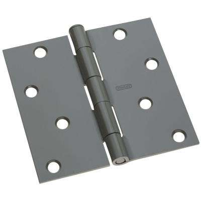 4 in. x 4 in. Prime Coat Gray Square Corner Door Hinge