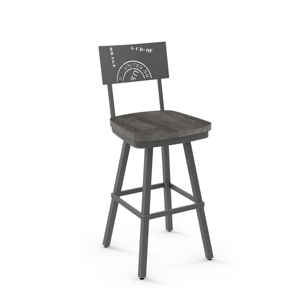 Jamerson 26 in. Grey Metal Grey Wood Counter Stool 41250-26/5789