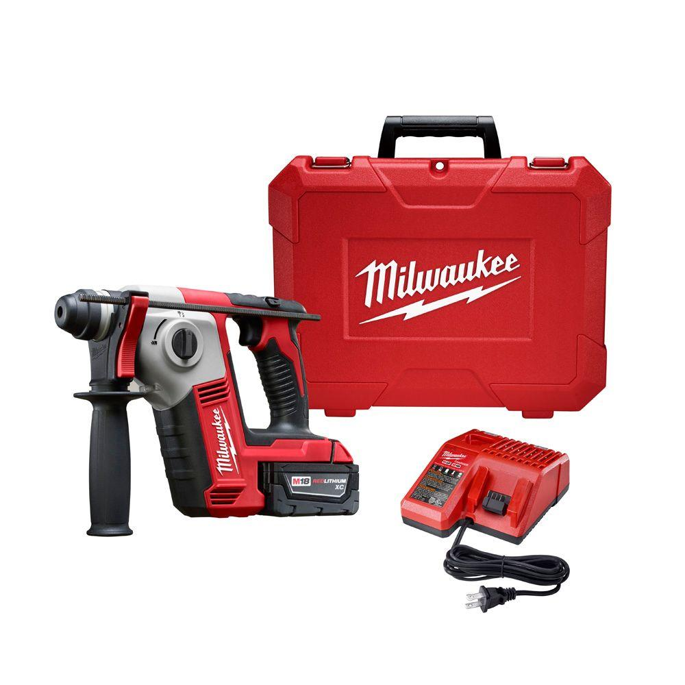 Milwaukee M18 18-Volt Lithium-Ion Cordless 5/8 in. SDS-Plus Rotary Hammer Kit W/(1) 3.0Ah Battery, Charger, Hard Case