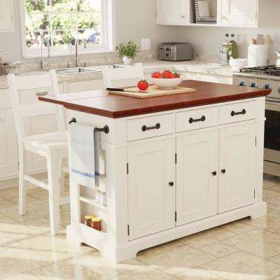 Country Kitchen Large Island In White