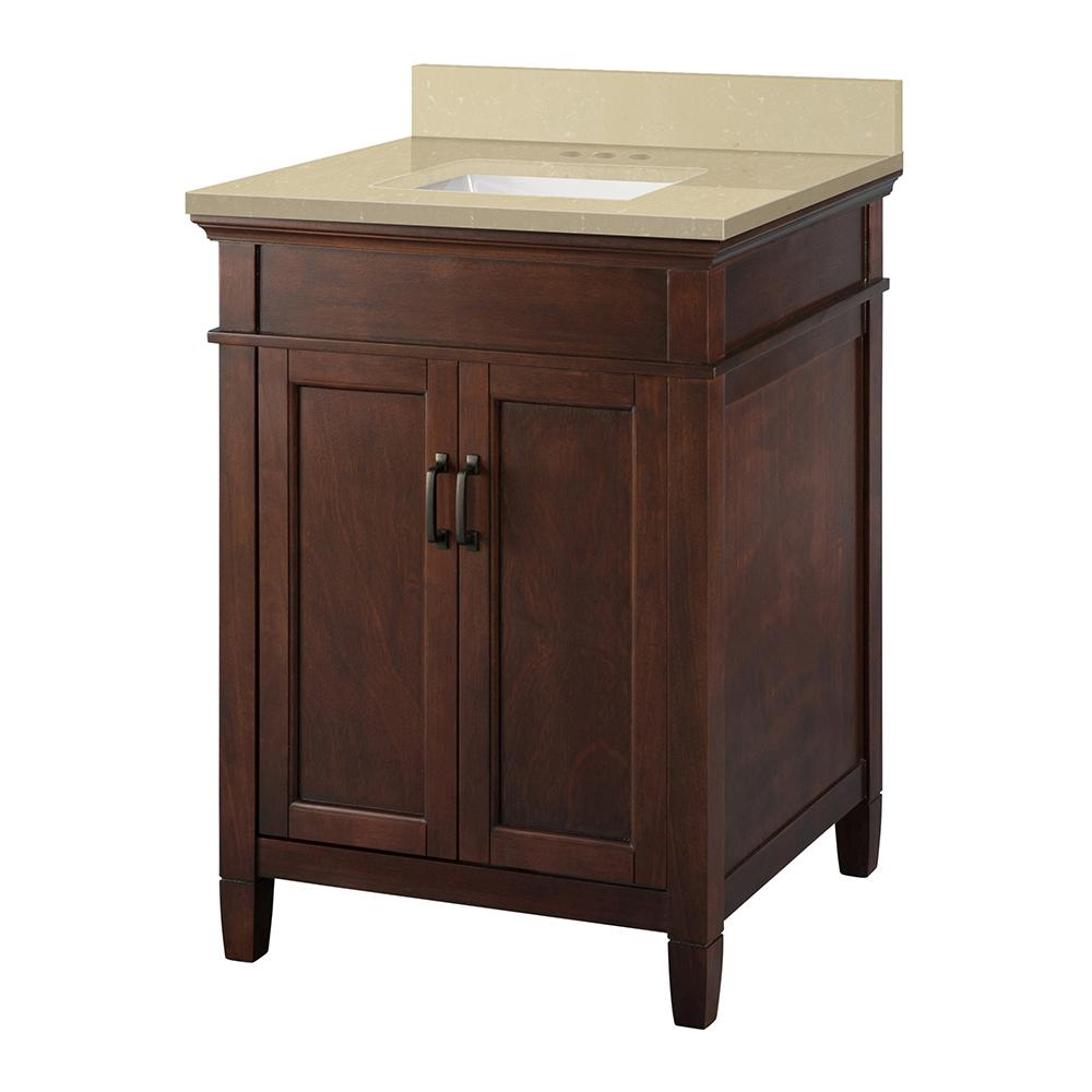 Home Decorators Collection Ashburn 25 in. W x 22 in. D Vanity Cabinet in Mahogany with Engineered Marble Vanity Top in Crema Limestone with White was $524.0 now $366.8 (30.0% off)