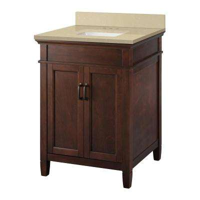 Ashburn 25 in. W x 22 in. D Vanity Cabinet in Mahogany with Engineered Marble Vanity Top in Crema Limestone with White
