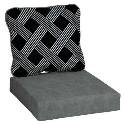 Black Lattice Deep Seating Outdoor Lounge Chair Cushion