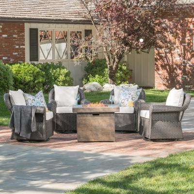 Dawson 5-Piece Wicker Patio Fire Pit Conversation Set with Beige Cushions