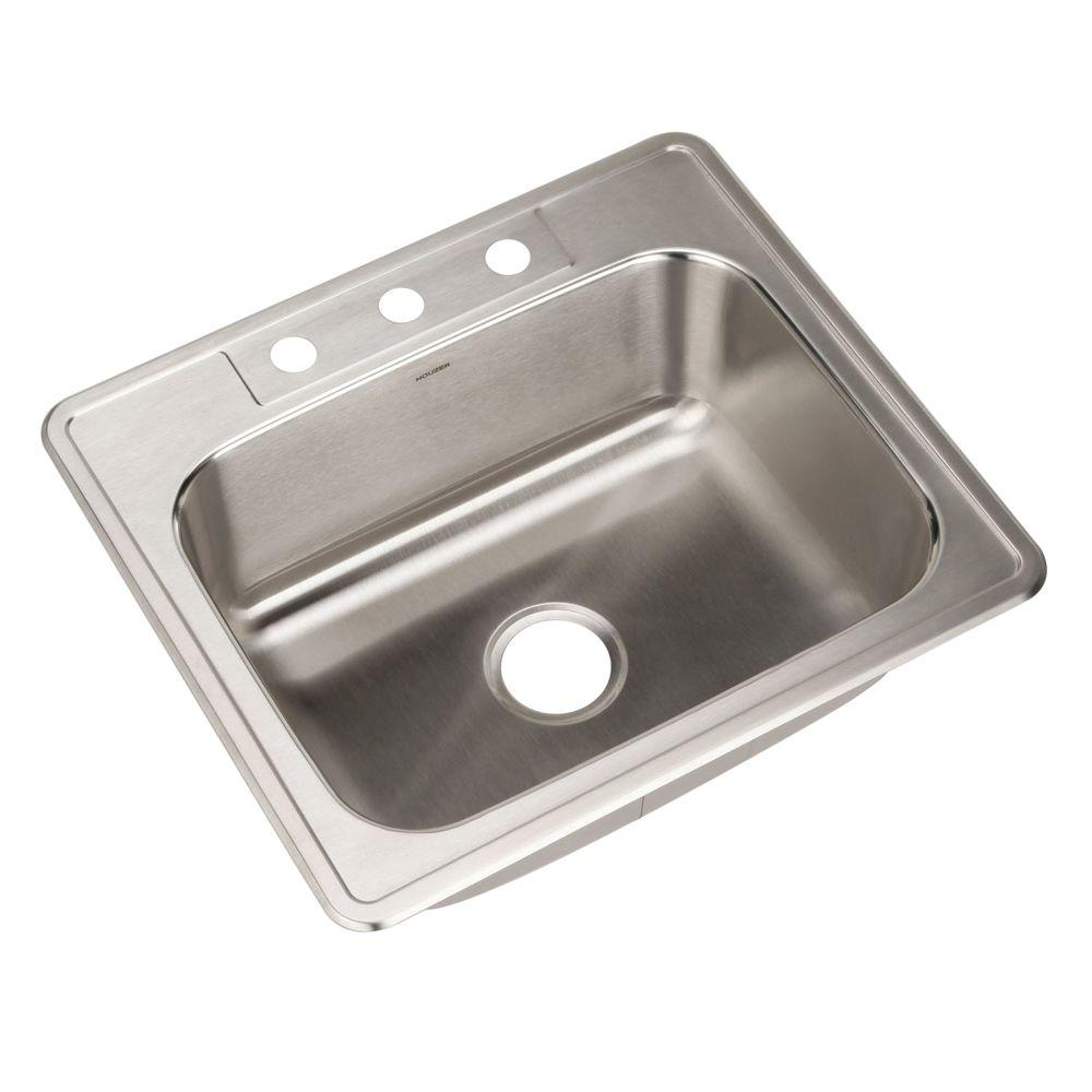 Houzer glowtone series drop in stainless steel 25 in 3 hole single bowl kitchen sink 2522 9bs3 - Kitchen sink specifications ...