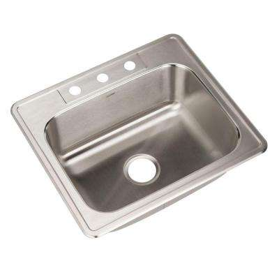 Glowtone Series Drop-In Stainless Steel 25 in. 3-Hole Single Bowl Kitchen Sink