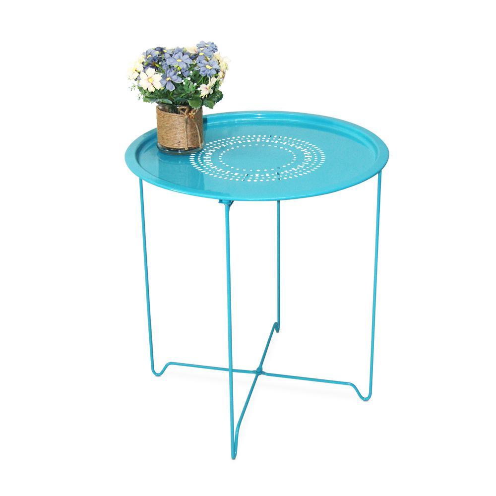 Capri Breeze (Blue) Foldable Round Metal End Table (Set of 2)