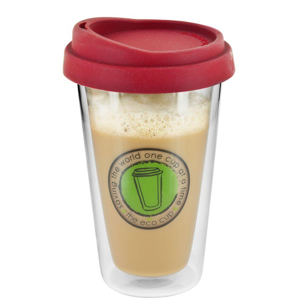 SmartPlanet ECO 12 oz. Glass Coffee Cup Red-DISCONTINUED