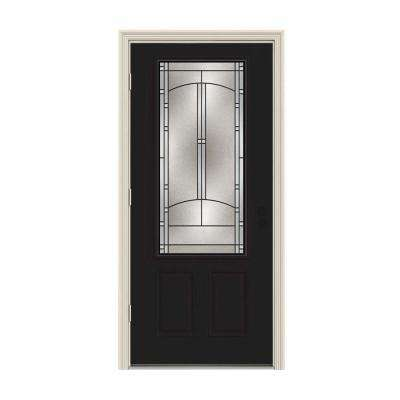 32 in. x 80 in. 3/4 Lite Idlewild Black w/ White Interior Steel Prehung Right-Hand Outswing Front Door w/Brickmould