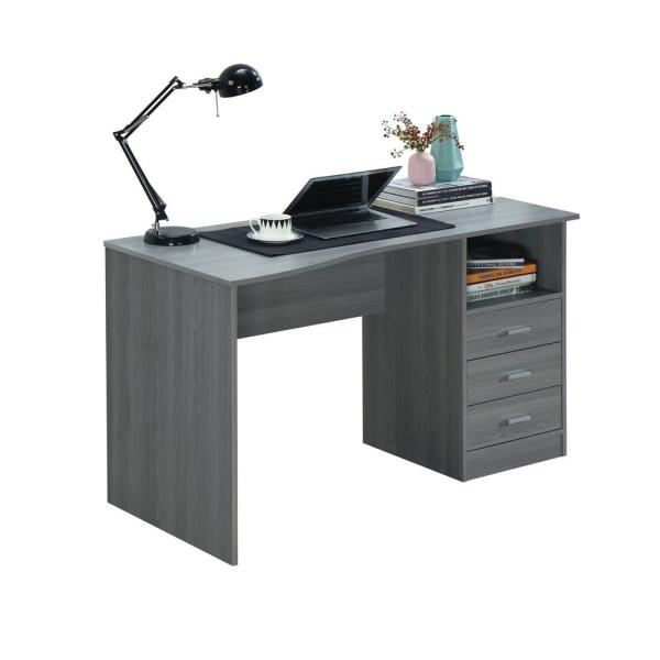 52 in. Rectangular Gray 3 Drawer Computer Desk with Built-In Storage