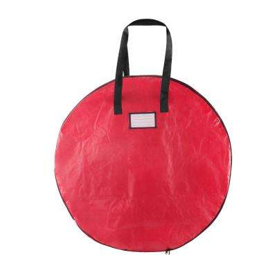 36 in. Red Christmas Wreath Storage Bag