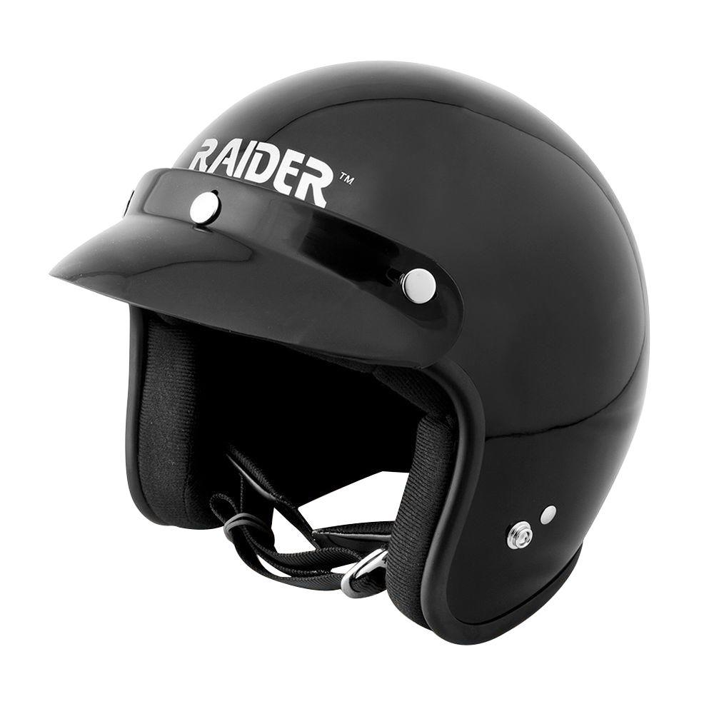 Raider Large Adult Gloss Black Open Face Helmet The Raider Open Face Helmet is perfect for your motorcycle, ATV or snowmobile. It features a full rubber bead trim and D-ring fasteners. This helmet comes with snap off visor or if preferred, 3 snap flip shield or 5 snap fixed shield for your protection.