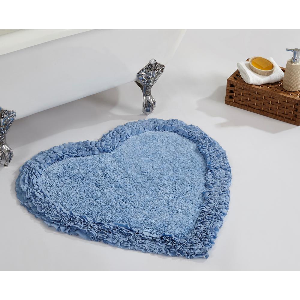 Ruffle Blue 30 in. x 30 in. Cotton Bath Rug
