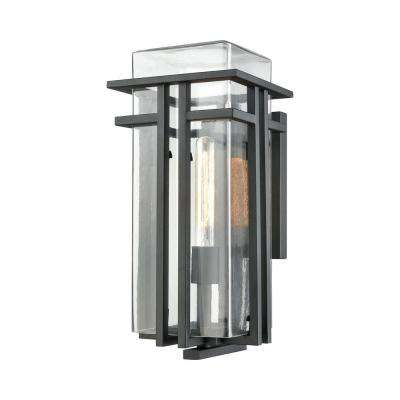Croftwell Large 1-Light Textured Matte Black with Clear Glass Outdoor Wall Mount Sconce