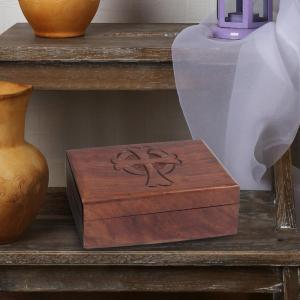 6 in. x 2 in. Natural Wooden Box with Hinged Lid and Carved Cross