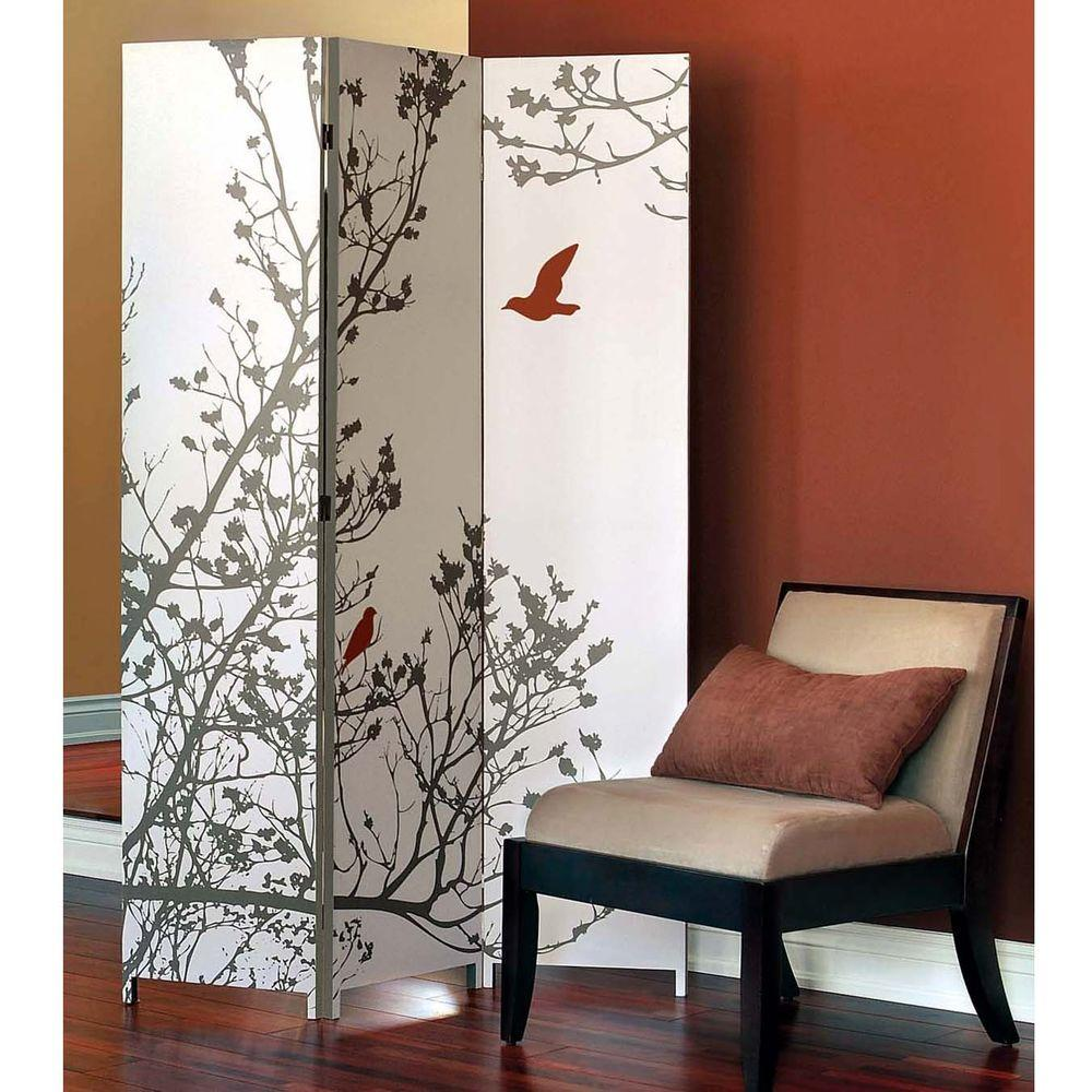 AZ Home and Gifts Bota 5.92 ft. Taupe and Red 3-Panel Room Divider