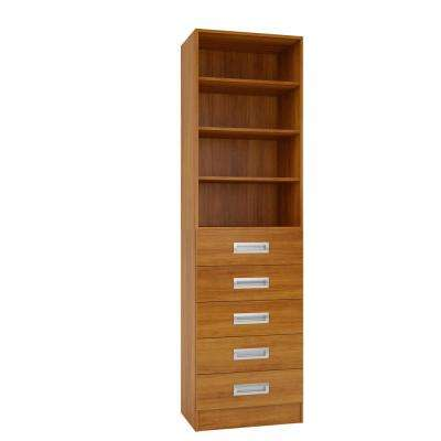 15 in. D x 24 in. W x 84 in. H Firenze Cognac Melamine with 4-Shelves and 5-Drawers Closet System Kit
