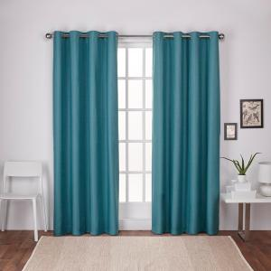 London Blue Teal Textured Linen Thermal Grommet Top Window Curtain
