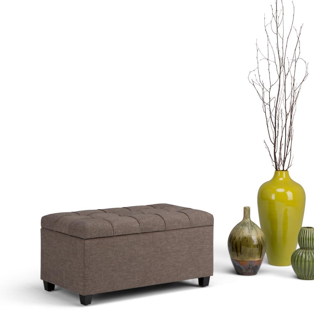 Simpli Home Sienna Fawn Brown Linen Look Fabric Storage Ottoman