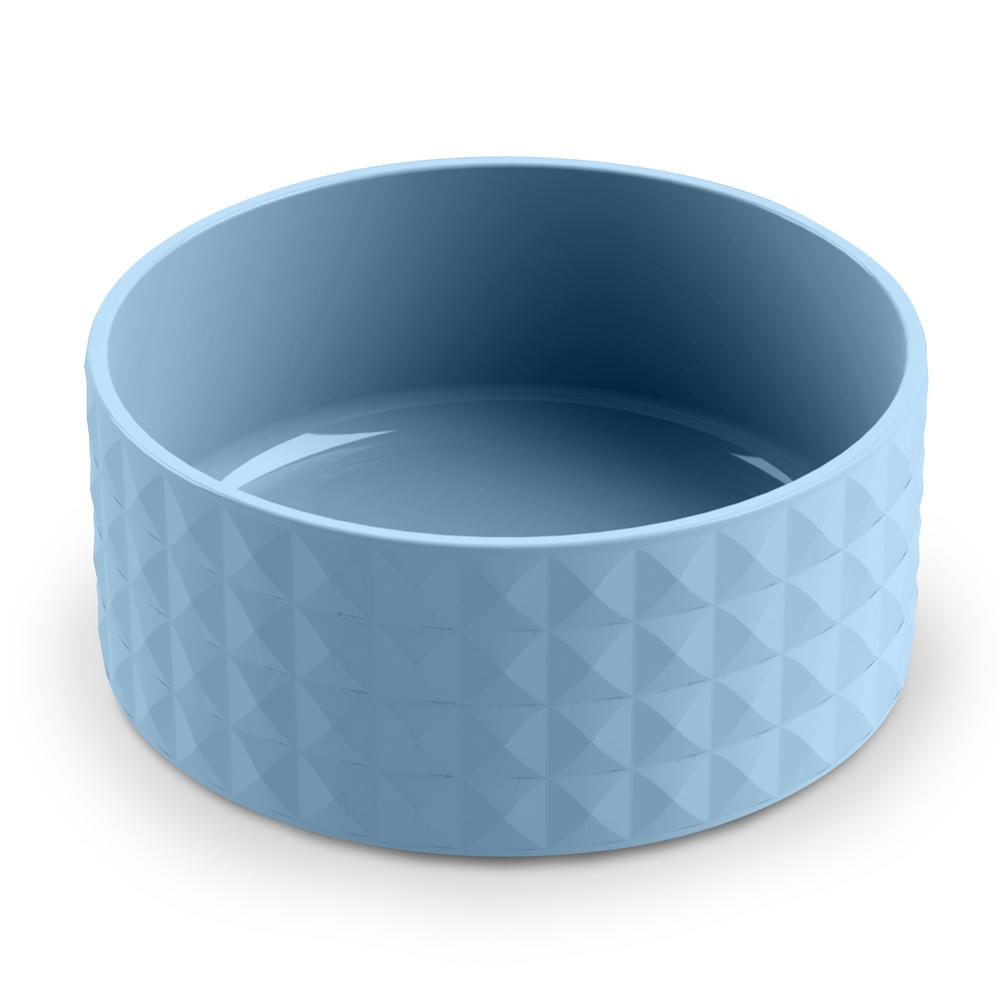 Diamond Ceramic Stoneware Large Pet Bowl in Blue