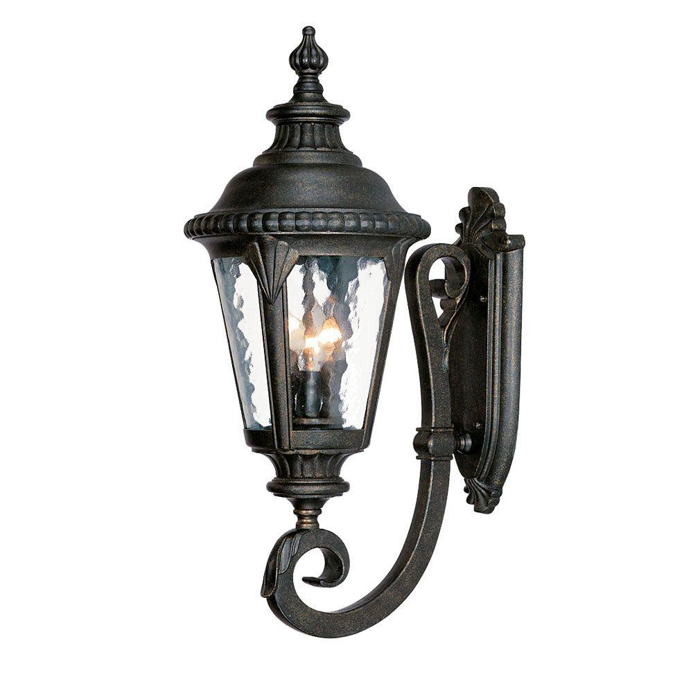 Acclaim Lighting Surrey Collection Wall-Mount 3-Light Outdoor Black Gold Light Fixture