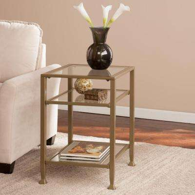 Matte Khaki Glass Top End Table