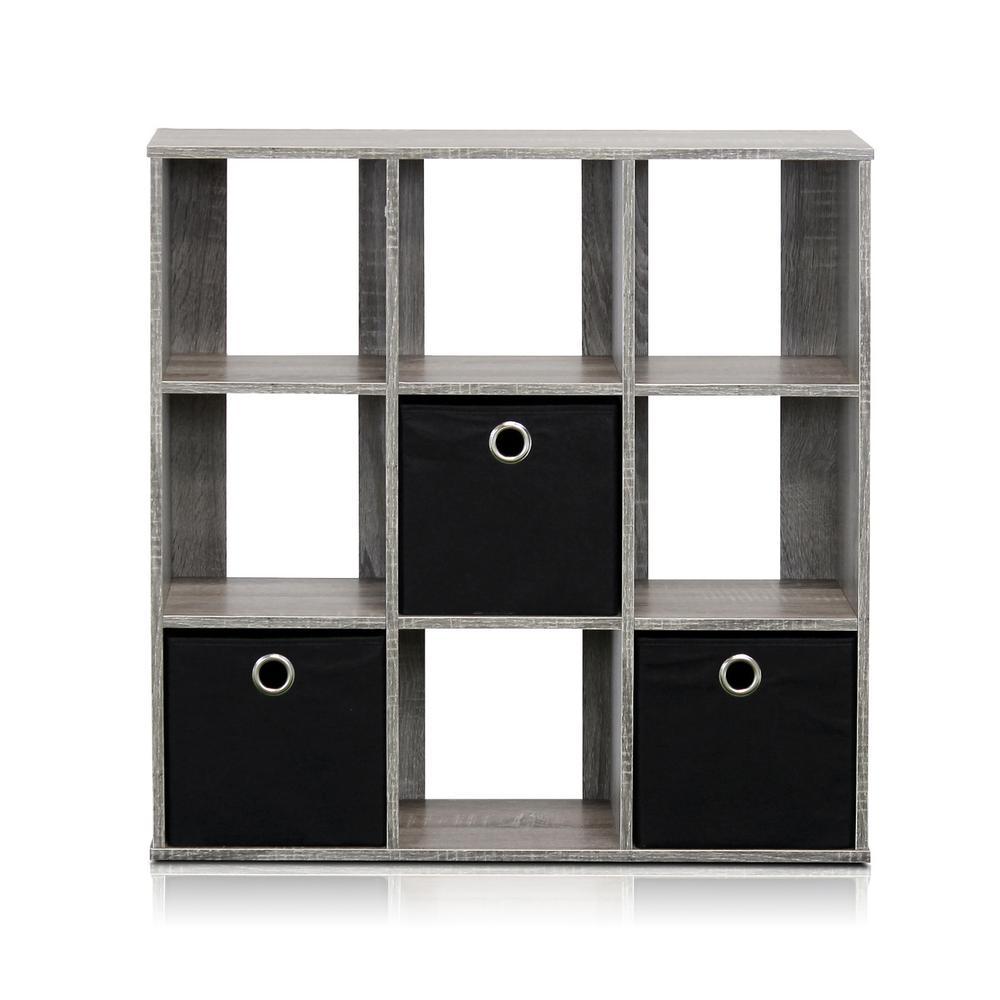 Simplistic French Oak Grey Open Bookcase with Bins