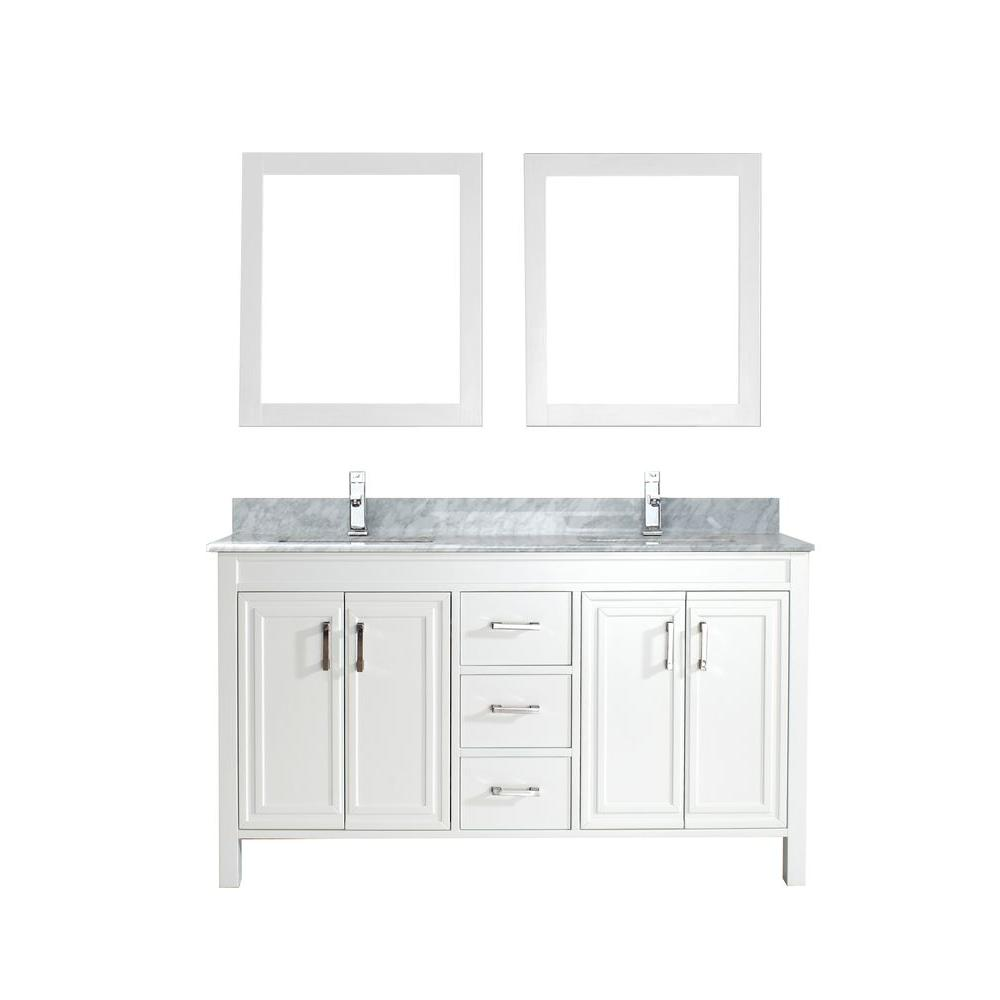 ART BATHE Dawlish 60 in. Vanity in White with Marble Vanity Top in Carrara White and Mirror