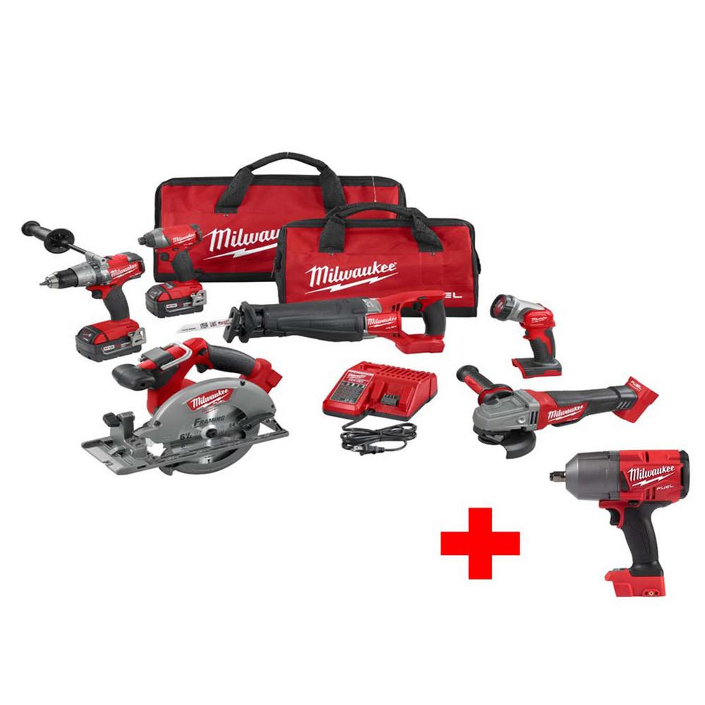 Milwaukee Lithium-Ion Cordless Hammer Drill, Sawzall, Circular Saw or Light Combo Kit features a gear-protecting clutch and counter-balance buydrones.ml: $