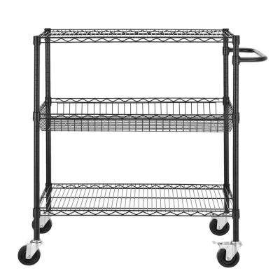 36 in. W x 45 in. H x 18 in. D Heavy Duty Commercial Grade Wire Shelving Cart, Black