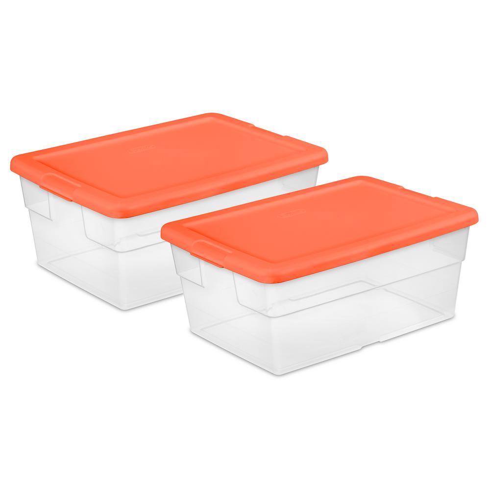 Sterilite 16 Qt Storage Box Set of 2 16457H52 The Home Depot