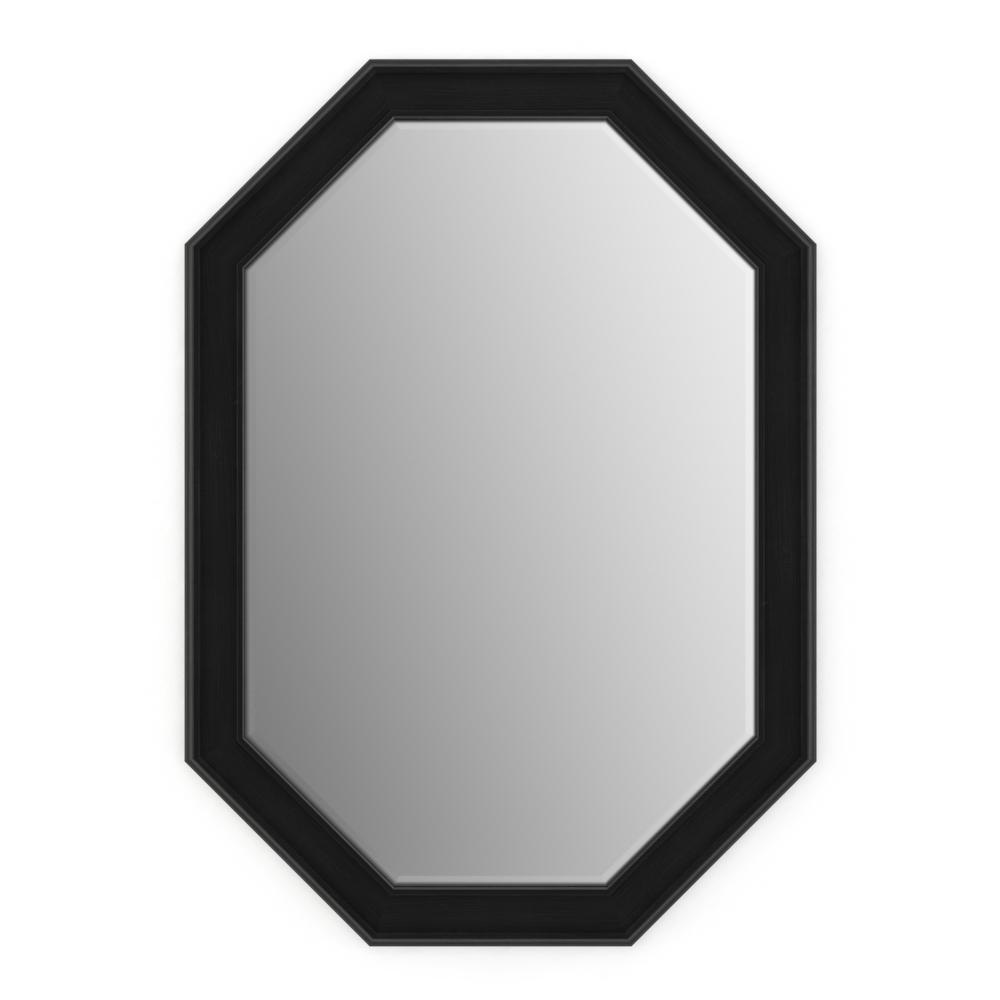 33 in. x 46 in. (L3) Octagonal Framed Mirror with Deluxe Glass and Float Mount Hardware in Matte Black