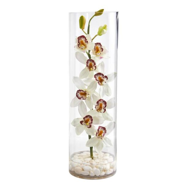Nearly Natural Indoor Cymbidium Orchid Artificial Arrangement in Tall Cylinder
