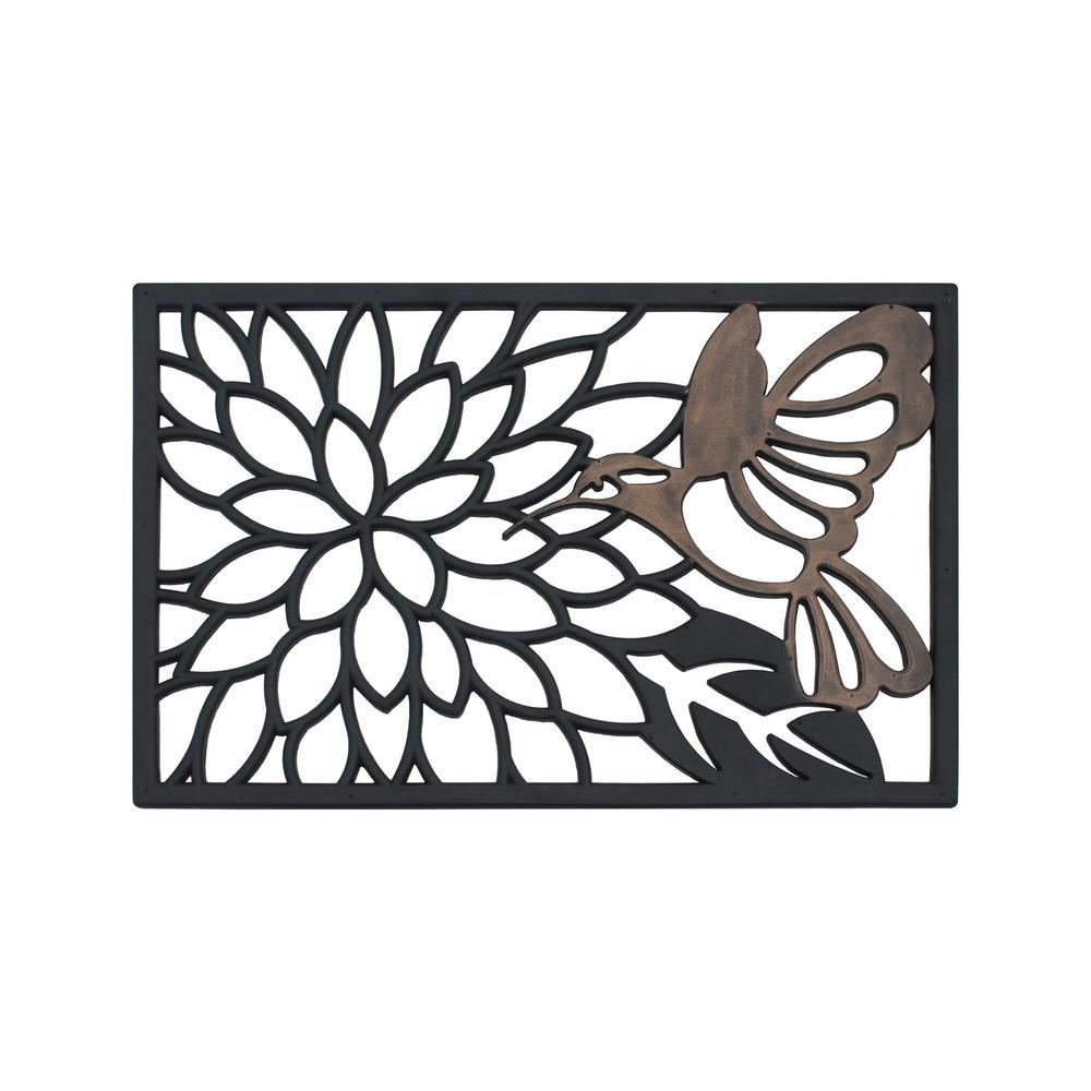 A1HC First Impression Hummingbird Oil Rub Bronze 20 in. x 30 in. Rubber Grill Mat