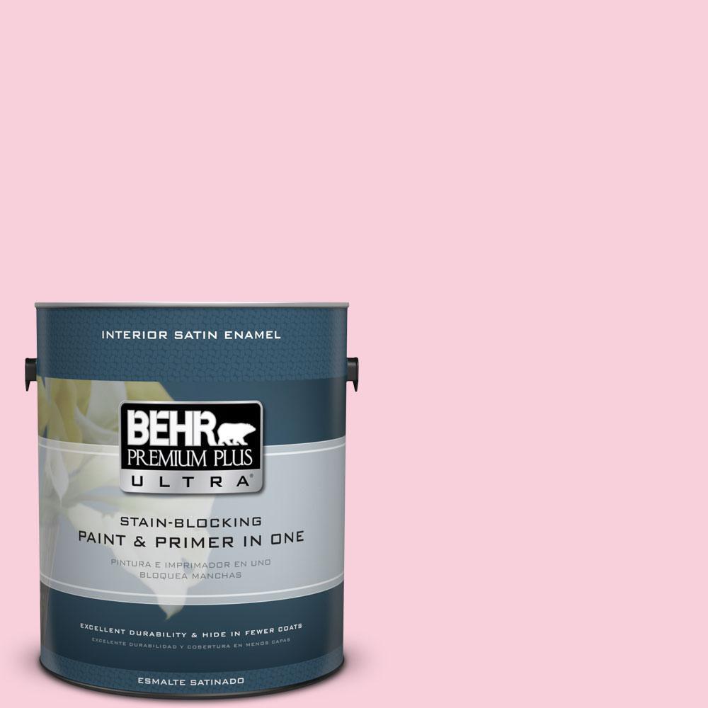 BEHR Premium Plus Ultra 1-gal. #120C-1 April Blush Satin Enamel Interior Paint