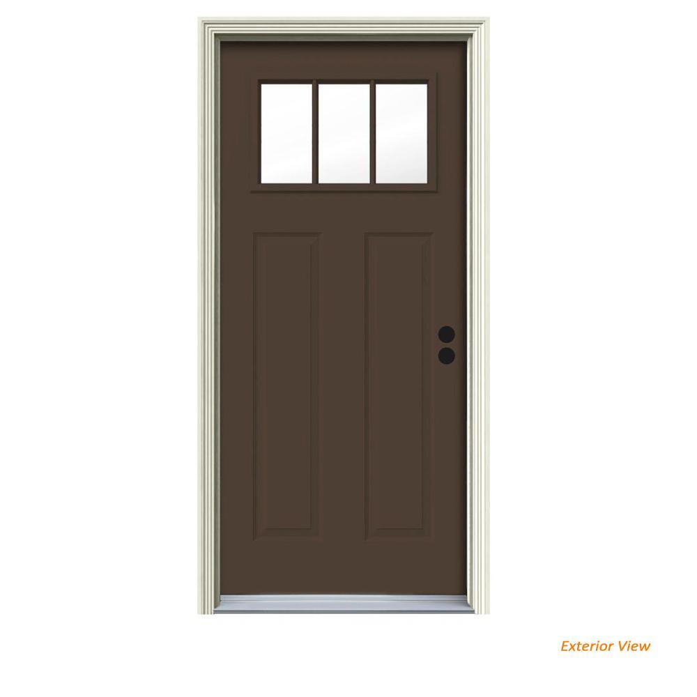 34 in. x 80 in. 3 Lite Craftsman Dark Chocolate Painted Steel Prehung Left-Hand Inswing Front Door w/Brickmould