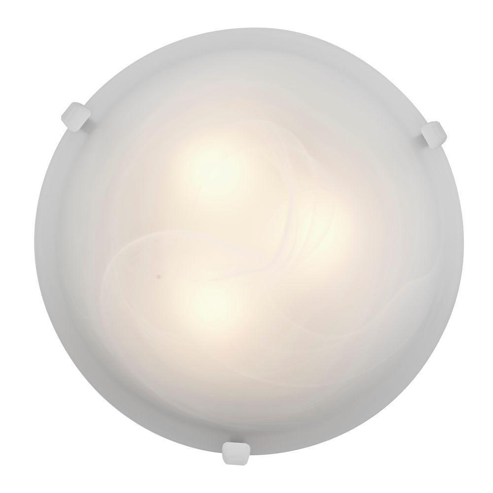 Mona 3-Light White Flushmount with Alabaster Glass Shade